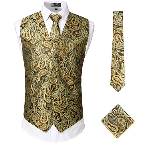 ZEROYAA Mens Classic 3pc Jacquard Paisley Vest Set Necktie Pocket Square Waistcoat for Suit or Tuxedo ZLSV08 Gold X-Large