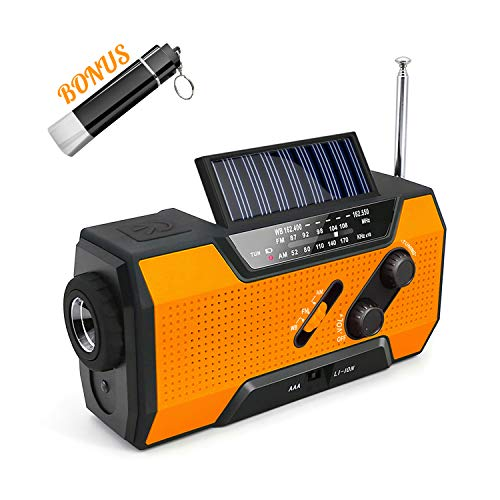 Emergency Outtdoor Solar Crank AM/FM/NOAA/Weather Radio with Flashlight,2000 mAh Power Bank,SOS Alarm, Reading Lamp,Phone Charger for Tornadoes Hurricanes,and Storms (Orange1)