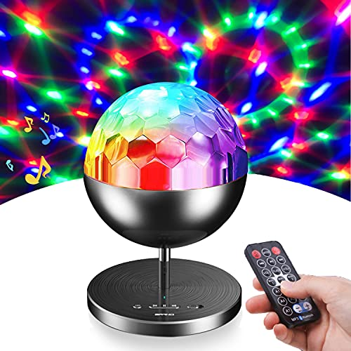 Yuiisenn Party Lights Rotating Disco Ball, Sound Activated 7 Colors Dj Lamp with Remote Control and Bluetooth Speaker - Black