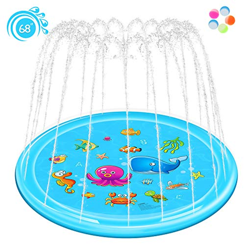 Rexin Splash Pad,68' Sprinkler Toy for Kids Children Toddlers Boys and Girls Perfect Inflatable Water Toys Outdoor Summer Splash Play mat Toddler Water Toys