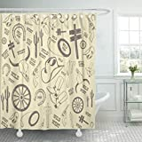 GETTOGET Cowboy from Wild West Western Horseshoe Boot Vintage Lasso Shower Curtain Bathroom Sets Hooks,Waterproof Polyester Curtain