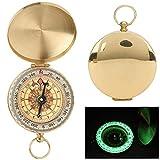DEWIN Brújula Luminosa de Reloj de Bolsillo con Tapa abatible de Cobre, brújula de Metal al Aire Libre Que guía hacia el Norte para Escalar, Acampar, Acampar(1)