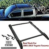 ROSY PIXEL Roof Rack Set (2Pcs Cross Bars& 2Pcs Side Rails) 2005-2019 for Toyota Tacoma Double Cab Black