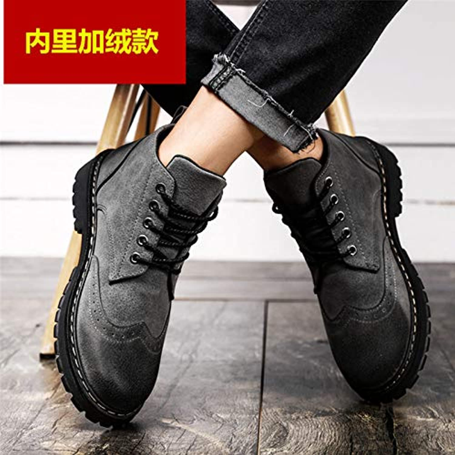LOVDRAM Boots Men's Winter Martin Boots Men'S shoes High To Help Snow Boots Men'S Military Boots Cotton Warm Cotton shoes In The shoes To Help Men'S Boots