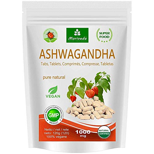 Ashwagandha comprimés 1000 mg ou capsules 600 mg - produit naturel pur de qualité supérieure - cerise d'hiver, ginseng indien (120 comprimés)