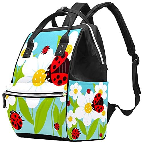 WJJSXKA Zaini Borsa per pannolini Laptop Notebook Zaino da viaggio Escursionismo Daypack per donna Uomo - Coccinelle e fiori