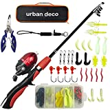 Urban Deco Kids Fishing Pole Set Portable Telescopic Fishing Rod and Reel Combo Kit with Travel Box for Beginners, Boys,Girls,Youth(Red)