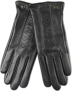SHENTIANWEI Women's Leather Gloves Lining Embroidered Winter Warm Gloves (Color : Black, Size : S)