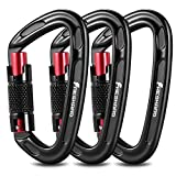 FresKaro 3pcs Climbing Carabiners-Auto Double Locking Carabiner Clips,Twist Lock and Heavy Duty, Suit for Climbing and Rappelling, Carabiner Dog Leash, D Shaped 3.93 Inch, Large Size, Black