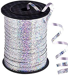 500 Yards Silver Crimped Curling Ribbon Shiny Metallic Balloon String Roll Gift Wrapping Ribbon for Party Festival Art Cra...