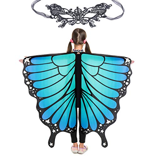 Butterfly Wings for Girls Kids Halloween Costume Fairy Shawl Festival Rave Dress (Kids(Bluish...