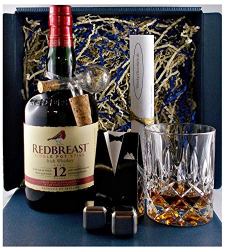 Geschenk Redbreast 12 Jahre irischer Whiskey + Glas + Portionierer + 2 Whisky Kühlsteine