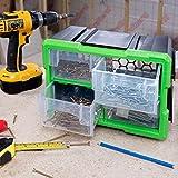 Dihl TB-LOK-B 4 Compartment Interlocking Drawer Parts <span class='highlight'>Storage</span> Organiser Carry Case Cabinet <span class='highlight'>Home</span> Workshop Garage Tool Box Nail Screw DIY Craft Hobby, Black and Green, 17.4 x 29.7 x 18.2cm