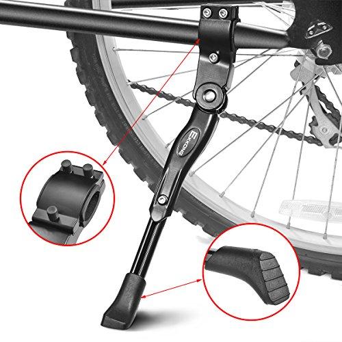 EKKONG Fahrradständer, Einstellbarer Universal Aluminiunlegierung Fahrrad Ständer Hinterbauständer Fahrrad Seitenständer Mountainbike Ständer mit Anti-Rutsch Gummifuß, Schwarze