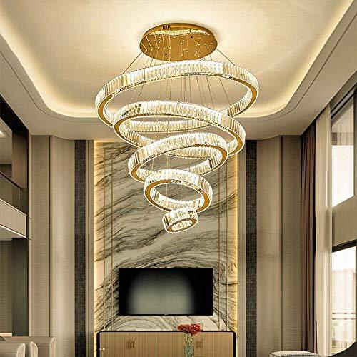 CENPEN Lujo moderno araña iluminación anillo diamantado gran escalera luz luz lámpara de cristal decoración casera decoración iluminación iluminación accesorios (Emitting Color : Warm White)