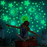 Glow in The Dark Stars Wall Stickers for Ceiling, 525 Pcs Glowing Removable Self-Adhesive Wall Decals with Planets, Stars and Moon for Girls Boys Kids DIY Bedding Room Bedroom Décor