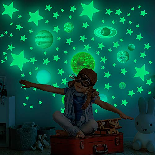 Glow in The Dark Stars Wall Stickers for Ceiling, 525 Pcs Glowing Removable Self-Adhesive Wall...