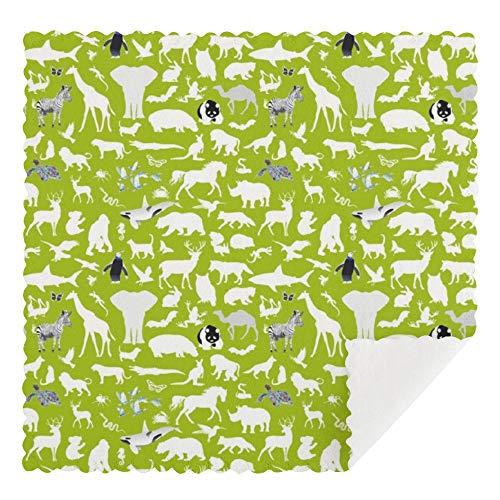 Meiya-Design Animal Kingdom - Paños de limpieza reutilizables, lavables a máquina, absorbentes paños de limpieza para cocina, 30,5 x 30,5 cm