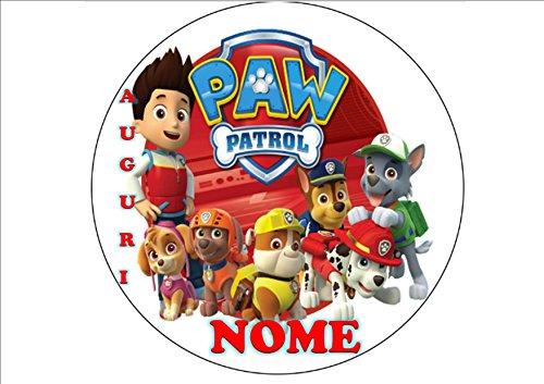 Paw Patrol Marshall Chase Skye à Dosette en Ostia pour gâteau personnalisable – Kit N ° 11 CDC- (1 à Dosette en Ostia taille feuille A4 210 x 297 mm)