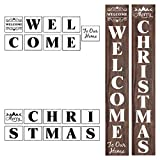 Welcome and Christmas Stencils for Painting on Wood - 19 Pack Large Vertical Welcome and Merry Christmas Sign Stencil Templates for Porch Signs, Reusable Letter Stencils for Front Door Decorations