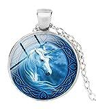 Merchandise for Fans Einhorn Halskette mit Anhänger aus Glas und Kette/Silberschmuck/Indianerschmuck - 01