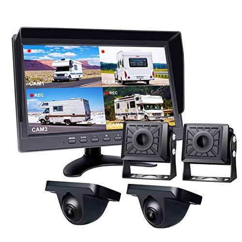 Kit de cámara de respaldo con cable, monitor dividido DVR grande de 10 '', cámara de visión nocturna IR impermeable de 4Pce HD 1080P e IP68, cable de aviación de 20 m + 2 * 10 m + 5 m ( Color : C )