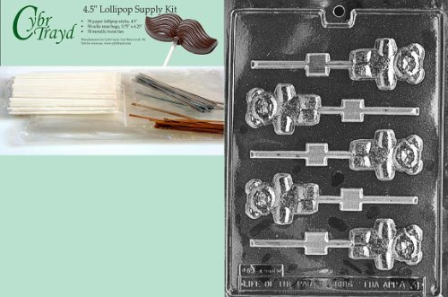 Best Review Of Cybrtrayd Teddy Bear Lolly Animal Chocolate Candy Mold with Lollipop Supply Kit