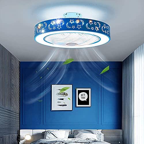 AKwwmy Ventiladores de Techo con Luces y Control Remoto Ventilador Luz LED LED Dimmable Niños Luces de Techo Lámpara de Luna para Dormitorios Sala de niños Salón Luz Colgante, Azul Mengheyuan