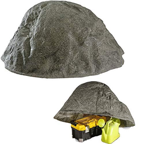 GARTENDEK Piedra Grande Decorativa para el Jardín Exterior, Roca Artificial Hueca y Falsa para el Diseño de Patio, Oculta Utilidades, Cubre 90 Centímetros L-02, Gris