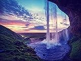 Bilderdepot24 Fototapete selbstklebend Seljalandfoss Wasserfall auf Island - Vintage - 200x150 cm