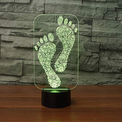 3D Night Light Footprint 3D Visual Lamp Couleurs Change Illusion D'Optique Touch Table Desk Led Night Light Great Kids Gifts Décoration De La Maison