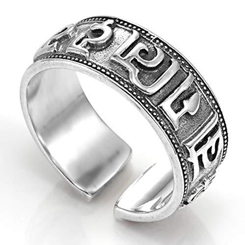 RXISHOP Hombres y Mujeres Anillo 925 Silver Apertura Ajustable, Moda Punk Boda Boda Regalo Tamaño 12-18# 15#