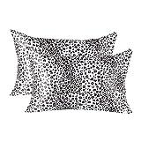 Bonlino Satin Pillowcases for Hair and Skin (Set of 2 ), Super Soft Silky Leopard Print Pillowcase King Size 20''×36''