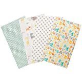 Mint Jungle 4 Pack Flannel Baby Burp Cloth Set - Safari Animal Theme 100% Cotton