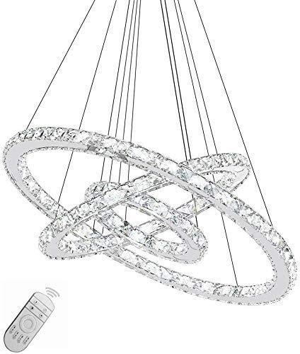 WUPYI2018 Hängelampe, 48W LED Kristall Design Kronleuchter Hängeleuchte Drei Ringe Pendelleuchte Deckenlampe Kreative Kronleuchter Dimmbar Lüster (72W)