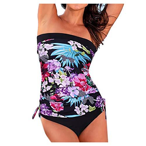 Tankini Swimwear 2 PCs Set Bohemian Pattern Irregular Sheer Hem Deep V-Neck with Bottoms Padded Swimsuits for Women