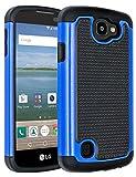 LG Optimus Zone 3 Case,LG Rebel VS425 Case,LG K4 Case,LG Spree Case,ANLI(TM)[Shockproof Series] Drop Protection Hybrid Dual Layer Armor Defender Case Cover for LG Optimus Zone 3/VS425/K4/Spree Blue