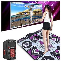 Tanzmatten, Schaumspielmatte Verdickung Schalldämmung Weiche Tanzmatten, rutschfeste Tanzdecke Step Pads Mit USB, Langlebig Verschleißfest für Erwachsene / Kinder HD-TV-Computer Dual-Use,Purple,PC