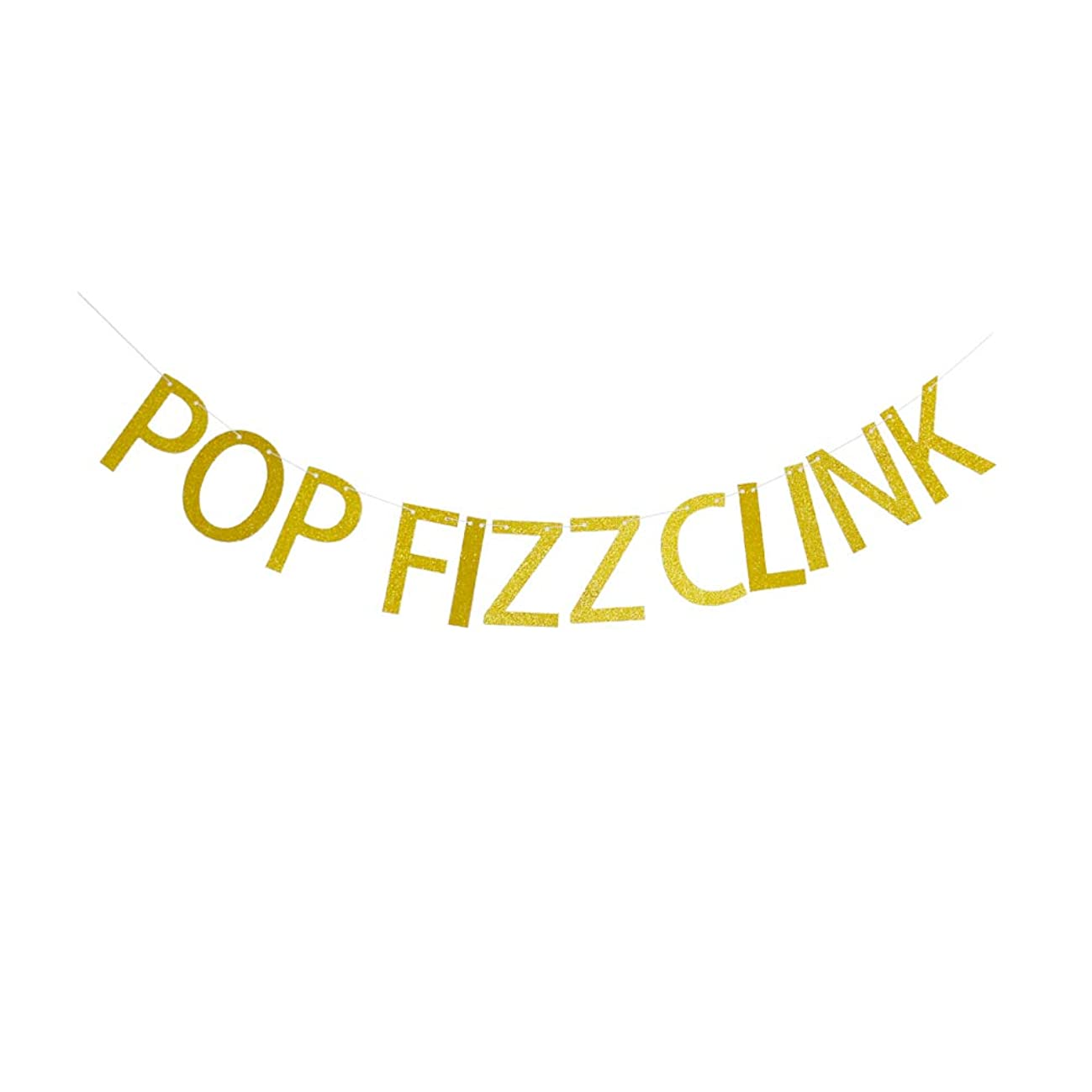 Pop Fizz Clink Banner, for Engagement/Wedding/ Retirement/Birthday/ Bachelorette Party Decorations, Gold Glitter Party Supplies