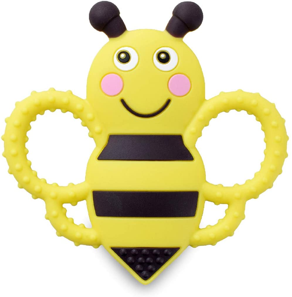 sweetbee Buzzy Bee Teether Toy, Multi-Textured, Soft & Soothing, Easy to Hold (BPA Free, Freezer & Dishwasher Safe)
