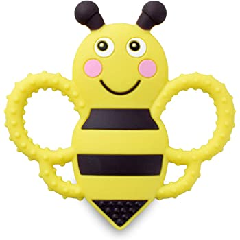 sweetbee Buzzy Bee Multi-Textured, Soft & Soothing, Easy-Hold, Silicone Teether Toy (BPA Free, Freezer & Dishwasher Safe)