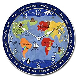 Kids World Map Wall Clock, Available in 8 Sizes, Most Sizes Ship The Next Business Day,
