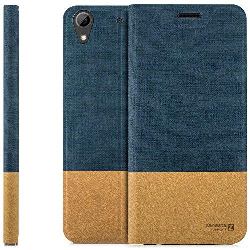 zanasta Designs Tasche HTC Desire 626G Hülle Flip Case Slim Schutzhülle Handytasche mit Kartenfach, Standfunktion | Blau