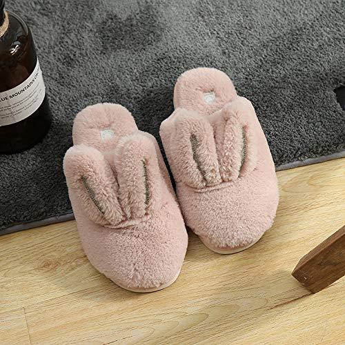 COQUI Hausschuhe,Herbst und Winter Neue süße Kaninchen nach Hause Hausschuhe rutschfest Innen warm Paar Paar Boden einfache süße Plüsch Schuhe-Pulver_41-42