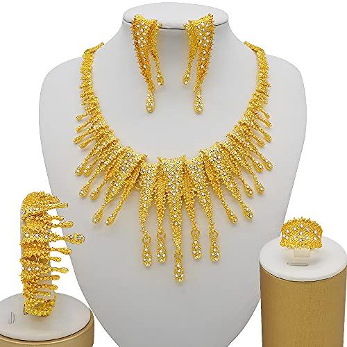 TCross Etiopía 24K Gold Dubai Juego de Joyas, Damas African Party Boda Regalo Collar Pendientes Pulsera Anillo Juego Juego (Metal Color : BJ863 1)