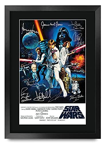 HWC Trading Star Wars A3 Gerahmte Signiert Gedruckt Autogramme Bild Druck-Fotoanzeige Geschenk Für Mark Hamill Harrison Ford Carrie Fisher ALEC Guinness George Lucas Filmfans