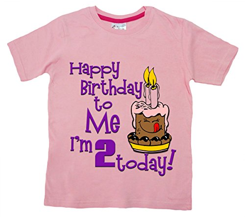 Dirty Fingers, Happy Birthday To Me, je suis 2 aujourd'hui., T-shirt bébé - Rose - XS