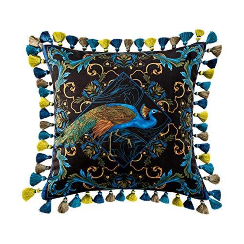 LF- Sofakussen voor thuis van katoen, comfortabel, licht retro-materiaal, pauw van fluweel, goudkleurig, afneembaar, sierkussen 50 x 50 cm