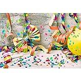 Cassisy 2,2x1,5m Vinilo Cumpleaños Telon de Fondo Vistoso Cintas de Carnaval Caja Confetti Los Globos Tablones Fondos para Fotografia Party Infantil Photo Studio Props Photo Booth