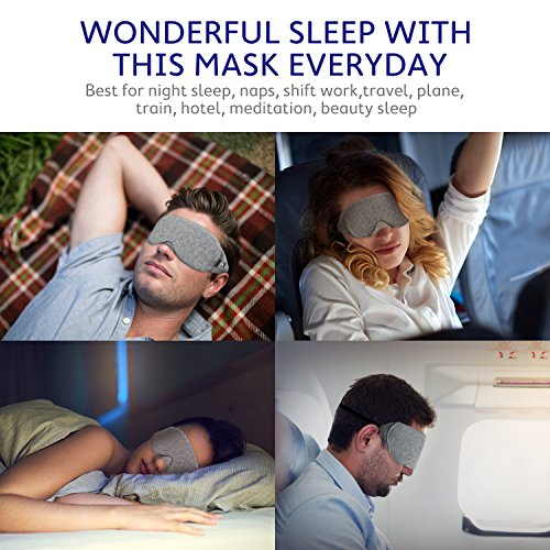 Mavogel Cotton Sleep Eye Mask - Updated Design Light Blocking Sleep Mask, Soft and Comfortable Night Eye Mask for Men Women, Eye Blinder for Travel/Sleeping/Shift Work, Includes Travel Pouch, Grey